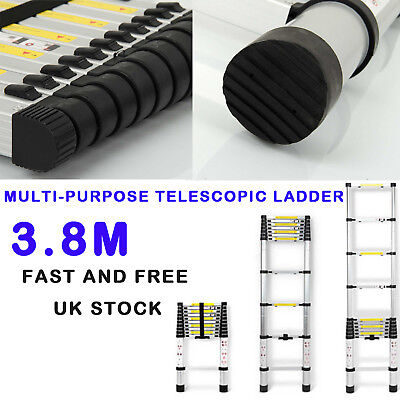 3.8M Foldable Extension Ladder Telescopic Portable Aluminum Home Car Step Stairs