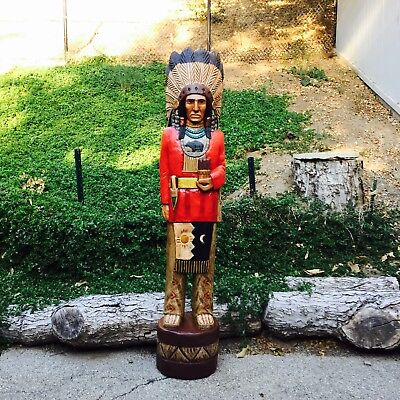 John Gallagher Carved Wooden Cigar Store Indian 6 ft Red Coat Bear Knife