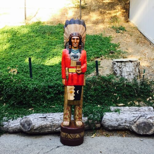 John Gallagher Carved Wooden Cigar Store Indian 6 ft Red Coat Bear Knife Statue