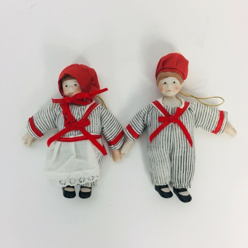 Kurt Adler porcelain Victorian girl and boy Christmas ornaments 1985