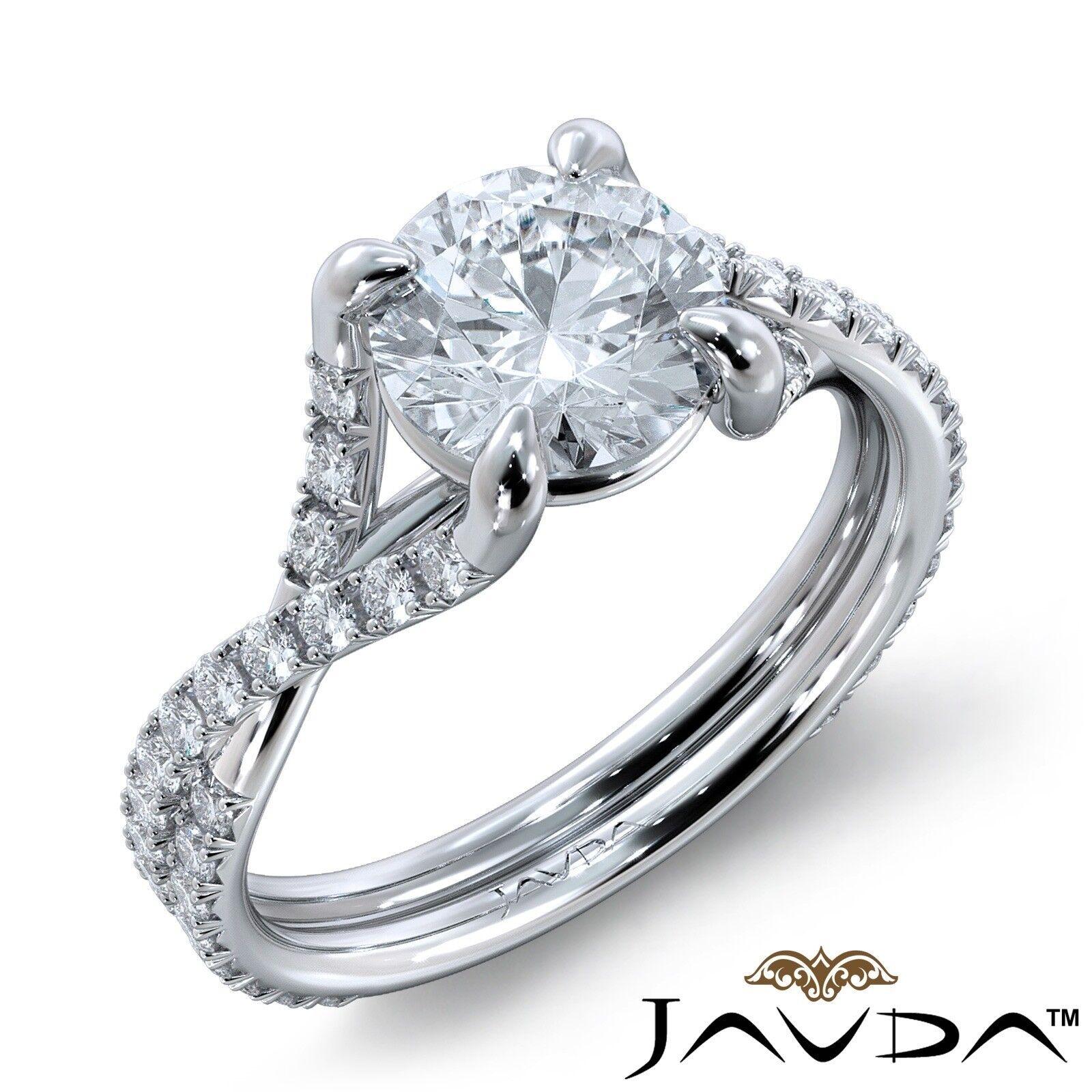 2.39ctw French Cut Sidestone Round Diamond Engagement Ring GIA F-VVS1 White Gold