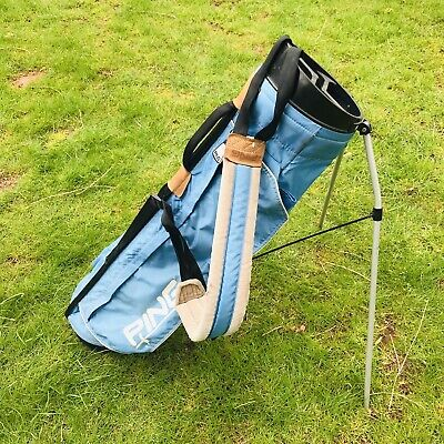 NICE Lightweight PING GOLF RANGE BAG Light Blue THIN 4-Way Divided SUNDAY Stand
