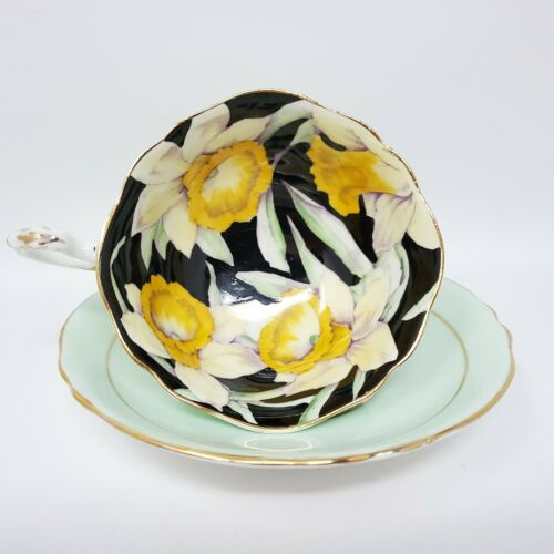 Paragon Tea Cup Saucer Daffodils Mint Green Double Warrant HAS CRAZING