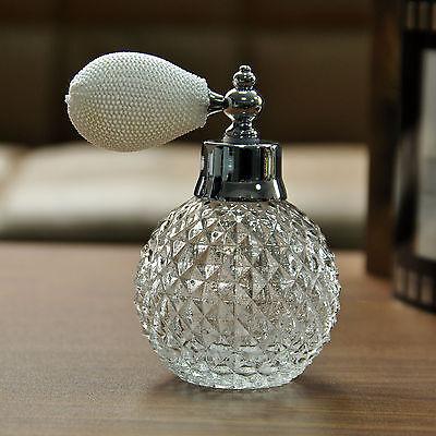 Vintage Crystal White Perfume Bottle Spray Atomizer Glass Bottle Lady Gift 110ml