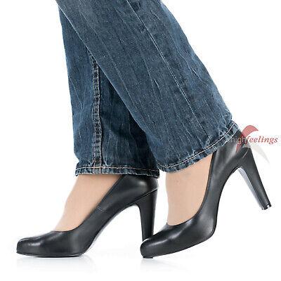 Pu High Heel Pumps (Schwarze Leder Pumps High Heels 11 cm Absatz Nappaleder Größe EUR 42 - 47)