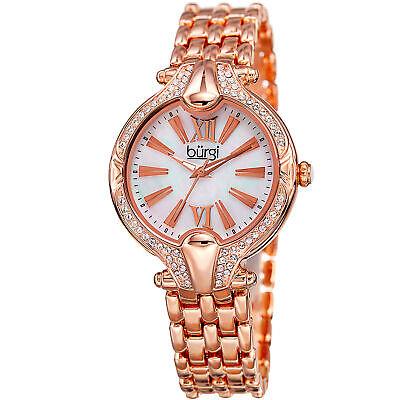 Women's Burgi BUR163RG Swarovski Crystal Bezel Mother of Pearl Bracelet Watch