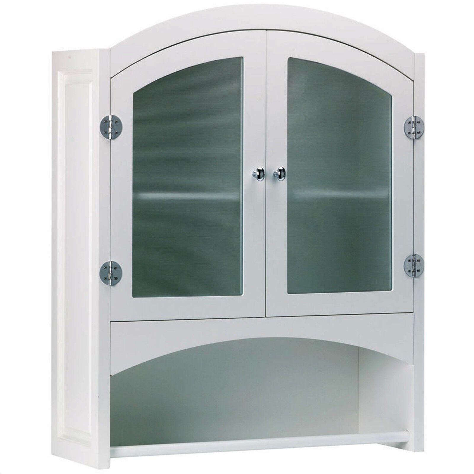 Wood Wall Cabinet White Capboard Kitchen Bathroom Storage Shelves Bath Towel Bar 718569027184 Ebay