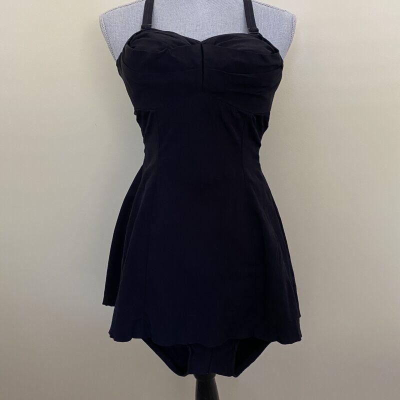 Vintage 1940's Jantzen Pinup Black Bathing Suit Swim Suit - Vintage Size 14/36