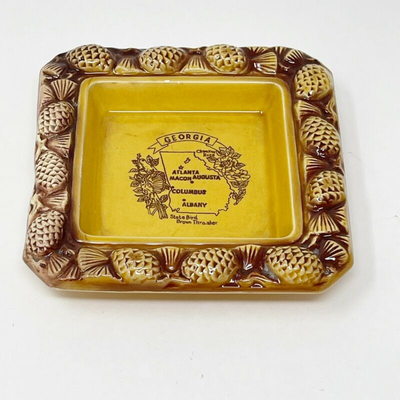 Vintage Georgia State Souvenir Yellow/Brown Ceramic Ashtray Pine Cones Japan