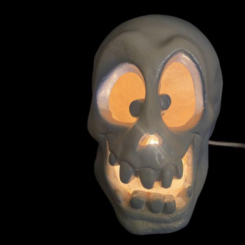 Trendmasters Light-Up Skull Halloween Decoration 1993 Vintage Blue Skeleton