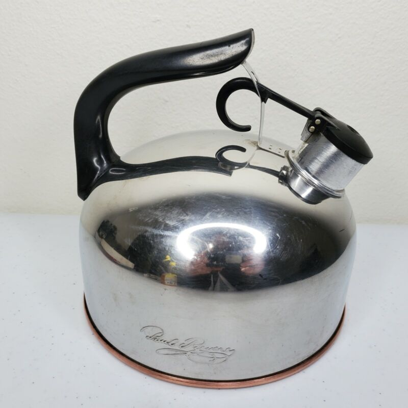Vintage Revere Ware Whistling Tea Kettle 3 qt Copper Bottom Rome NY USA 1801 83