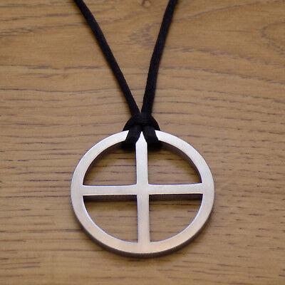 Sun Solar Cross Stainless Steel Pendant & Black Cord Necklace Viking Sun -