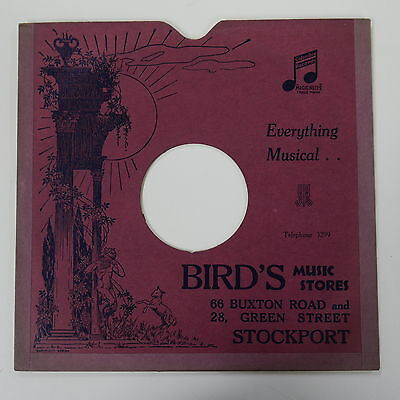 "78rpm 10"" card gramophone record sleeve / cover BIRD`S MUSIC STORES , STOCKPORT"