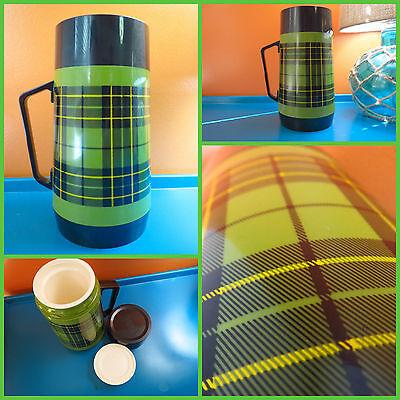 VTG 1970s Retro Preppy Green Plaid Thermo Serv Soup Coffee Drink Picnic Thermos