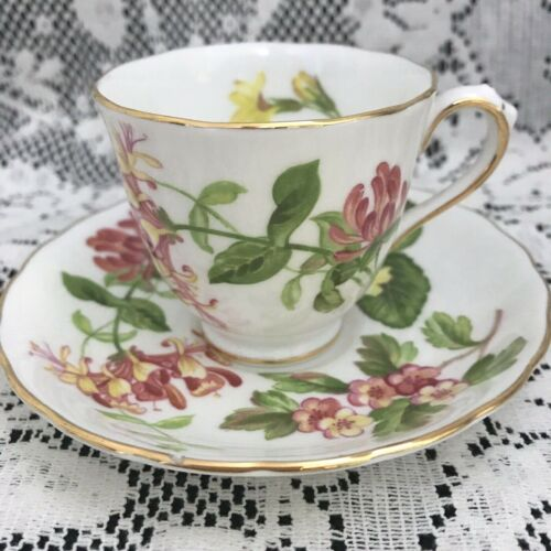 "Royal Chelsea Demitasse Cup & Saucer, English Fine Bone China, Floral ""Hedgerow"""