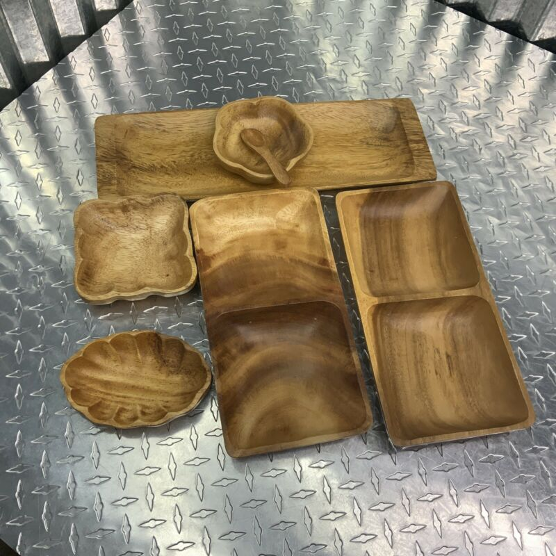 Beekman Wood Handcrafted Serving Dishes Jewelry Holder 7 Piece