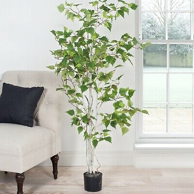 Large Indoor Outdoor Fake Artificial 5 Foot Birch Tree Plant in Pot with Leaves ()
