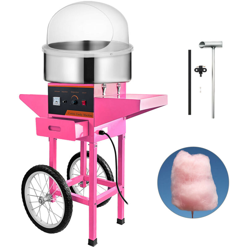 Electric Cotton Candy Machine Pink Floss Carnival With Cart&Cover Commercial