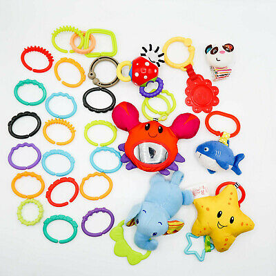LOT of 22 Baby Toy Plastic Rings Links & 7 Activity Development Toys