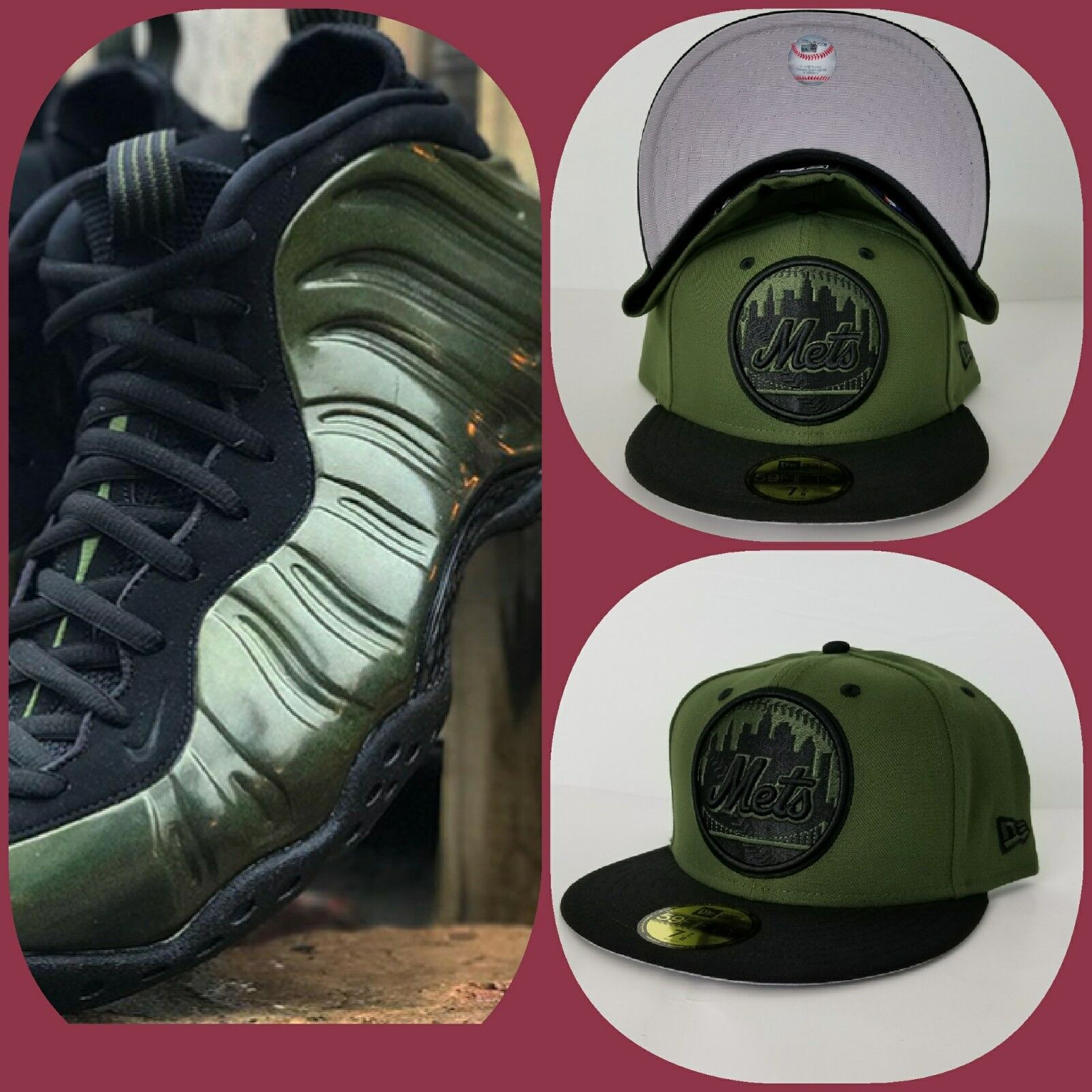 bdc81b6d1f8 Details about New Era NY Mets 59Fifty Fitted hat for Nike Foamposite One  Legion Green Foams