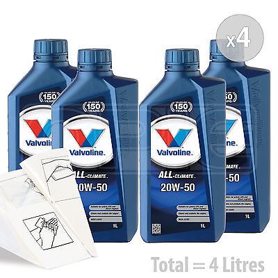 Car Engine Oil Service Kit  Pack 4 LITRES Valvoline All Climate 20w 50 4L