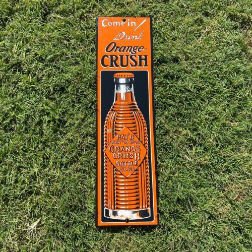 VINTAGE ORANGE CRUSH PORCELAIN METAL DOOR ADVERTISING DRINK SODA POP PUSH SIGN!!