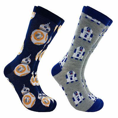 Hyp Star Wars BB8 & R2D2 Men's Crew Socks 2 Pair Pack Shoe Size 6-12