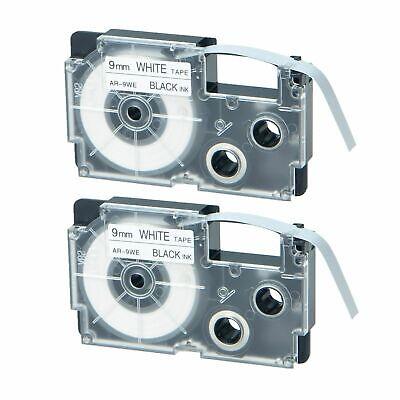 2-pkpack Casio Xr-9we Black On White Label Tape For Ez Printer Kl-100 120 750