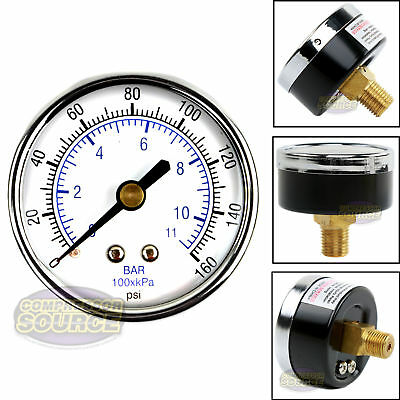 Quality 14 Npt Air Pressure Gauge 0-160 Psi Back Rear Mnt Mount 2 Face