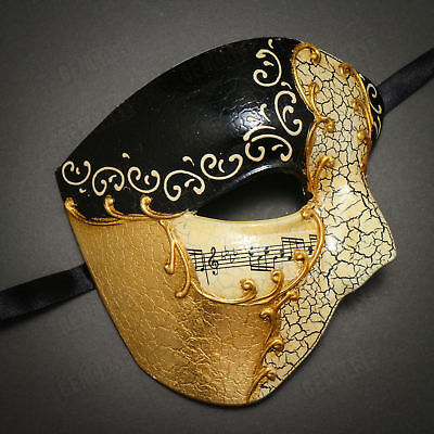 Half Face Phantom of Opera Masquerade Venetian Mardi Gras Mask - Black Gold