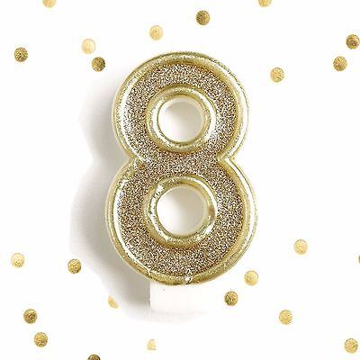 Light Gold Glitter Birthday Candle Number 8 Gold White Cake Topper Eight