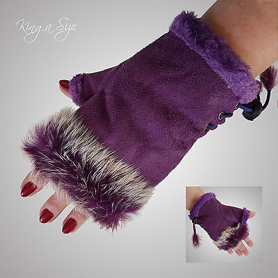 Fingerlose Handschuhe ** Stulpen / Armstulpen Pulswärmer Wildlederlook - lila