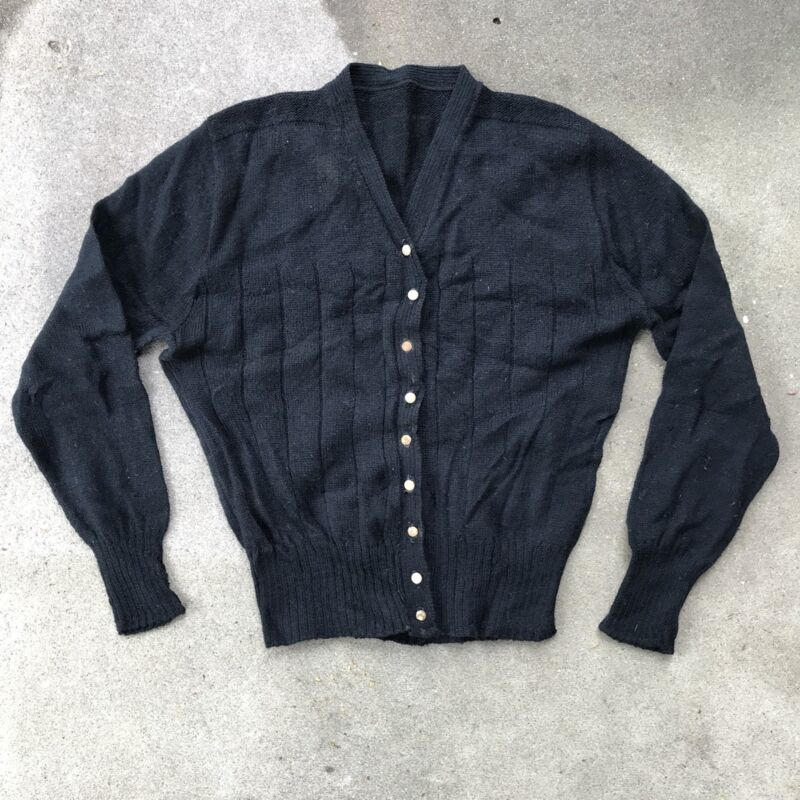 Vintage Womens Cardigan Sweater Wool Blend Black