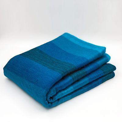 ALPACA WOOL BLANKET THROW AQUA BLUE TURQUOISE STRIPED PLAID QUEEN SOFT & WARM