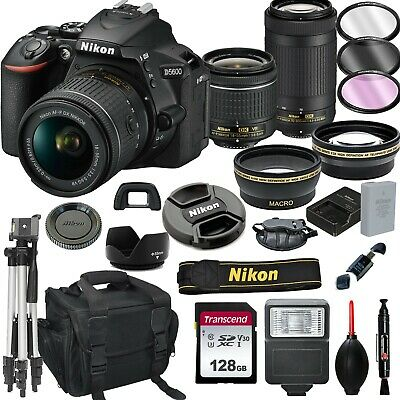 Nikon D5600 Digital SLR Camera with 18-55 and 70-300 ED Lenses 128GB 20PC Bundle