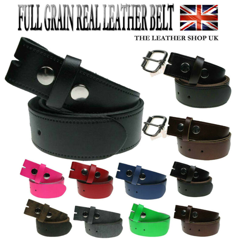 """64/"""" waist sizes Real Leather Snap For Trousers or Jeans 100/% Genuine 30/"""""""