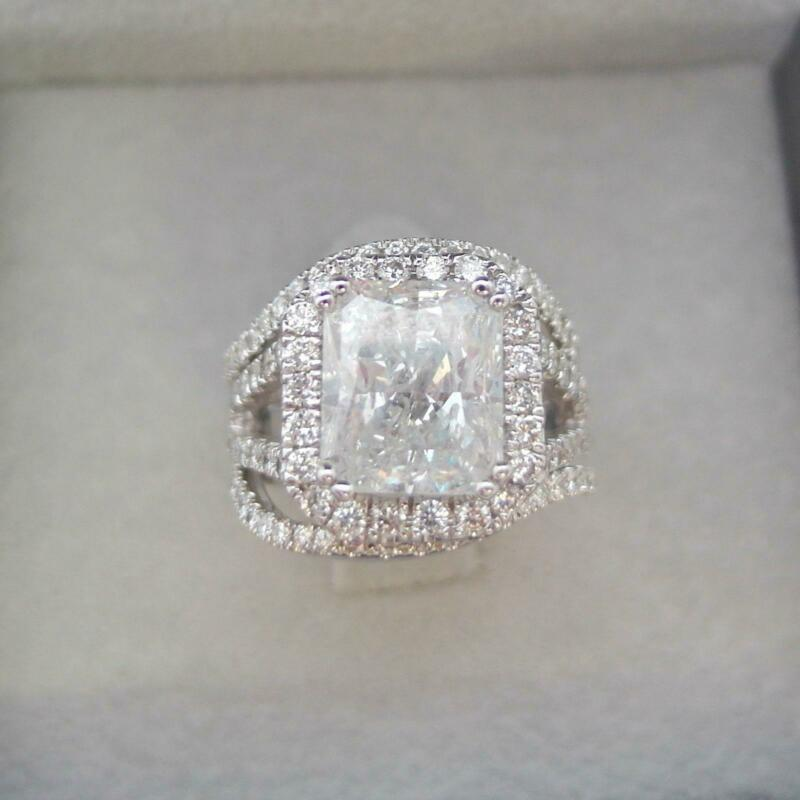 5 Carats Diamond Halo Ring 18 Kt White Gold Women Certified 8 Prongs Anniversary