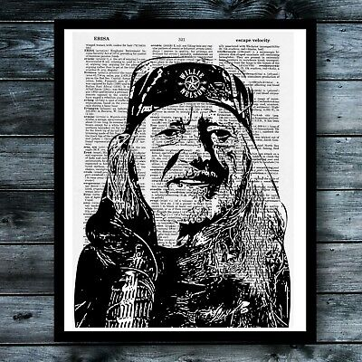 Willie Nelson Vintage Dictionary Print Country Music Wall Decor Modern Poster