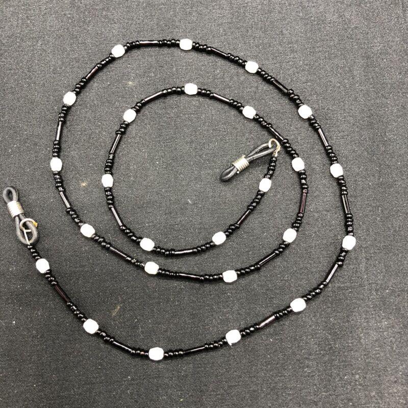 "Beaded Eyeglass Chain 26.5"" Adjustable Ends Handmade White Black Beads Dainty"