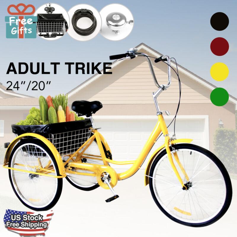 Adult Tricycle Trike 3-Wheel Cruise Bike with Basket Liner,