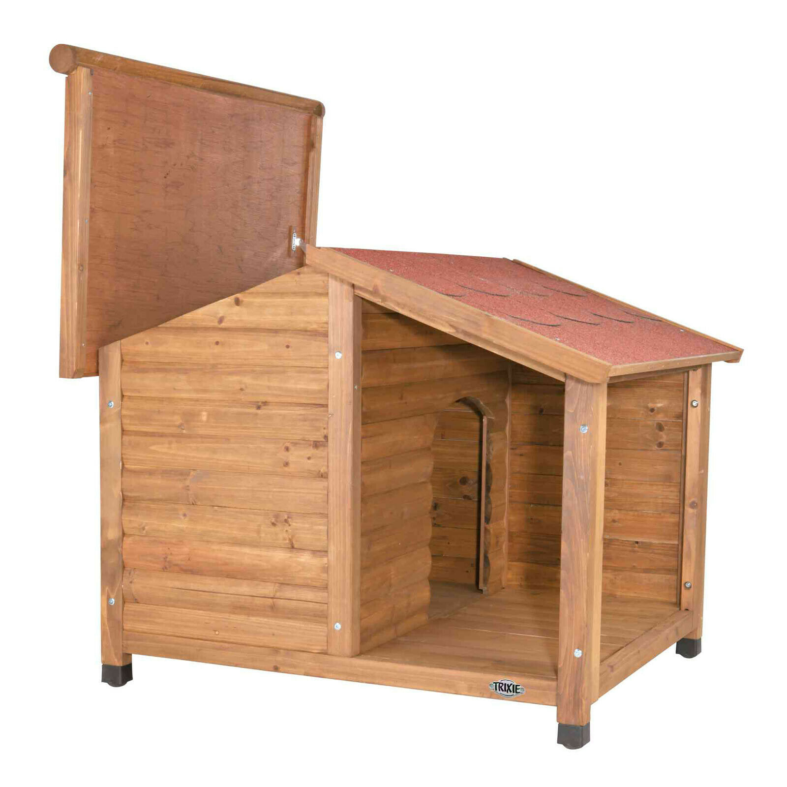 Trixie natura Hundehütte Lodge mit Satteldach Hundehaus Hundebox Hundehöhle
