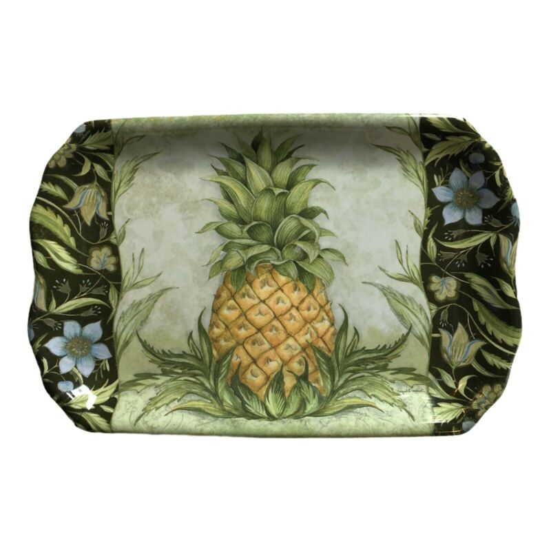 Keller Charles Serving Tray Pineapple Design 12.5 By 8  Melamine Susan Winger