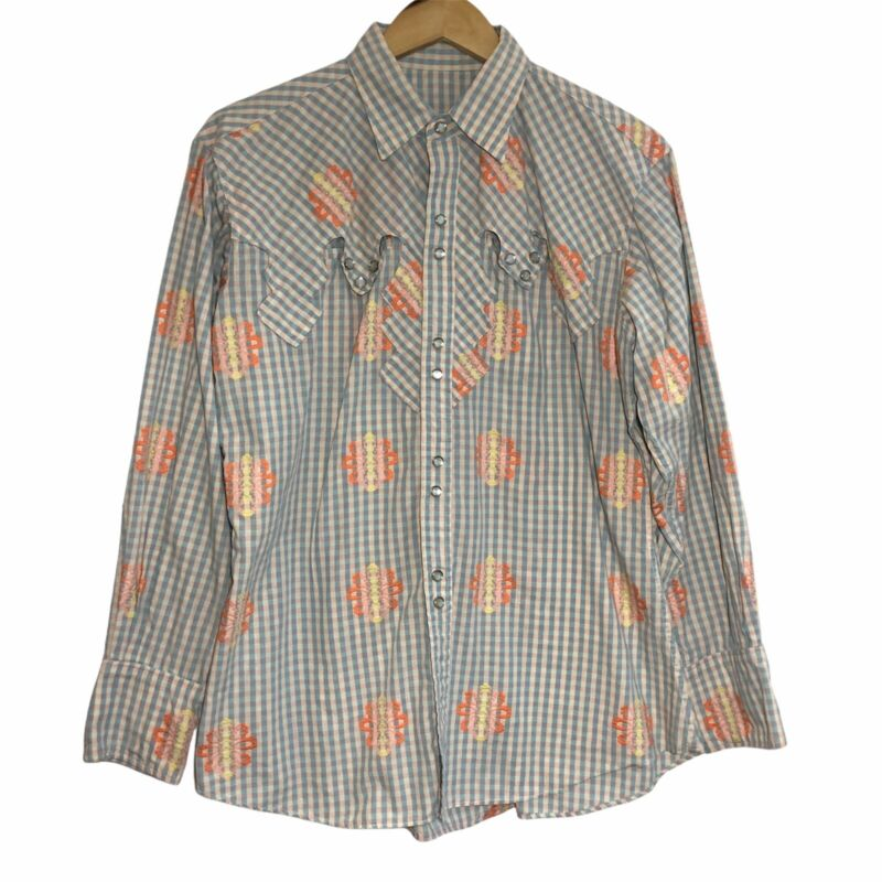 Cowgirl Vintage Western Shirt Embroidered Pearl Snaps Pockets Womens Size XL