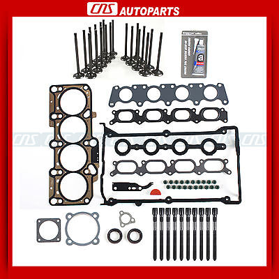 AUDI VW 1.8L Turbo 20V Head Gasket Set+Bolts+Intake Exhaust Valves+Silicone Kit