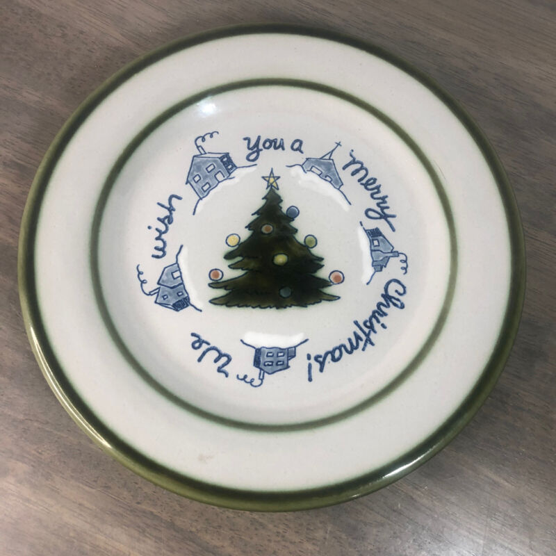 Louisville Stoneware WE WISH YOU A MERRY CHRISTMAS Pottery Plate GREEN