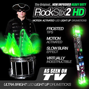 ROCKSTIX2 HD- BRIGHT GREEN LED LIGHT UP DRUMSTICKS (accessories) (not firestix)