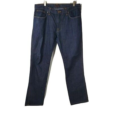 Nudie Jeans Co Slim Jim Mens Size 36x34 Blue Denim Organic Cotton Jeans