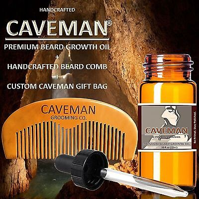 Handcrafted Caveman® BEARD GROWTH OIL plus FREE Comb and Gift Bag