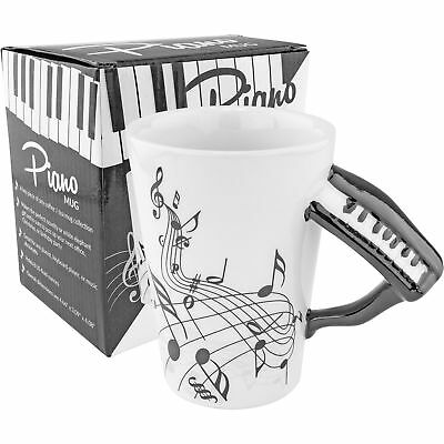 Black Piano Musical Ceramic Coffee Mug – Novelty Gift Music Notes Pianist Keys Collectibles