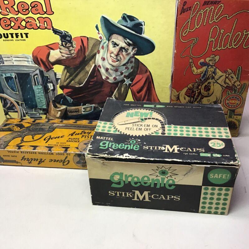 RARE NOS ORIGINAL 1958 MATTEL GREENIE STIK-M CAPS STORE DISPLAY 24 BOX COUNT MIB